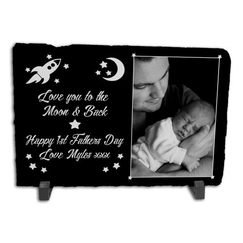 Personalised Happy 1st Father Rock Slate Photo Frame - Rectangle Large